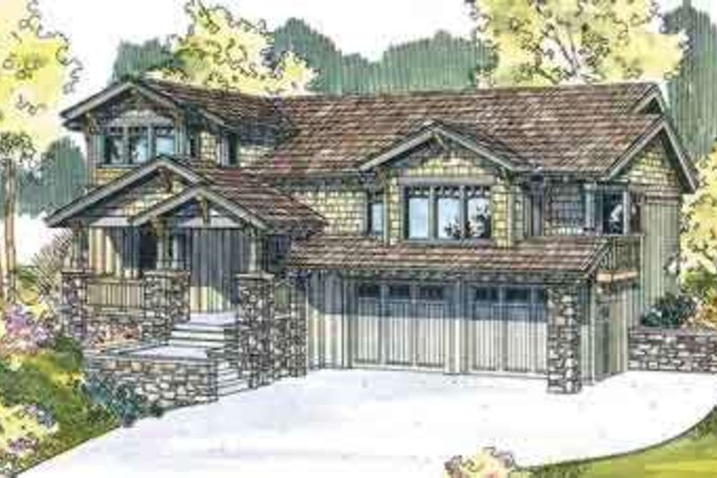 Craftsman Style House Plan - 3 Beds 2.5 Baths 2489 Sq/Ft Plan #124-533 Exterior - Front Elevation