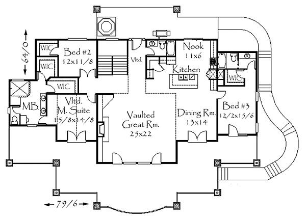 Contemporary Floor Plan - Main Floor Plan Plan #509-15