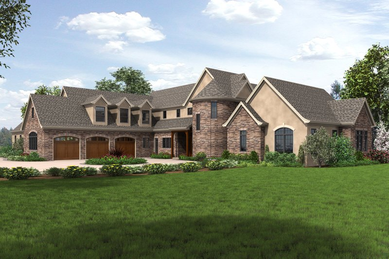 European Style House Plan - 4 Beds 4.5 Baths 7149 Sq/Ft Plan #48-689 Exterior - Front Elevation