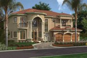 Mediterranean Style House Plan - 5 Beds 6.5 Baths 5743 Sq/Ft Plan #420-178 Exterior - Front Elevation