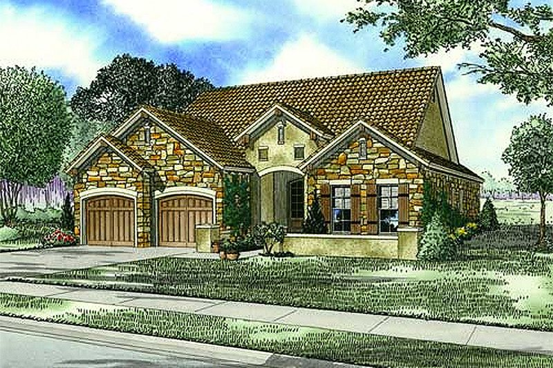European Style House Plan - 3 Beds 2 Baths 1943 Sq/Ft Plan #17-110
