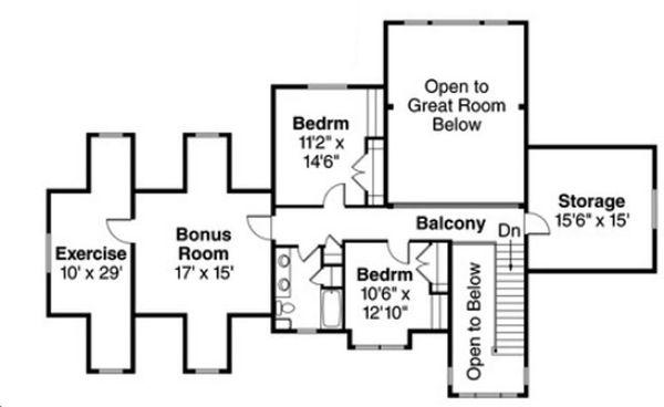 Craftsman Floor Plan - Upper Floor Plan Plan #124-823