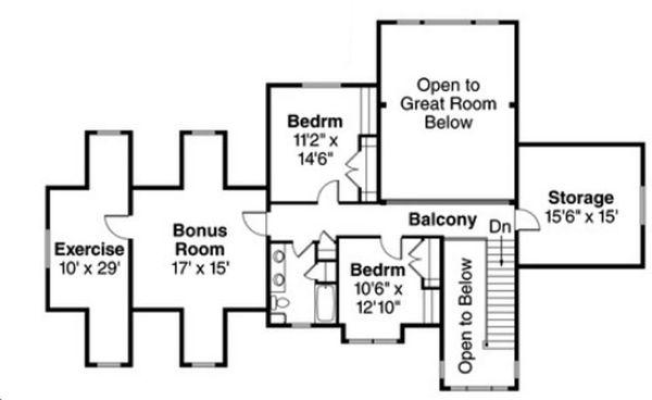 Craftsman Floor Plan - Upper Floor Plan Plan #124-823
