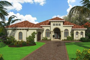 Dream House Plan - Mediterranean Exterior - Front Elevation Plan #27-550