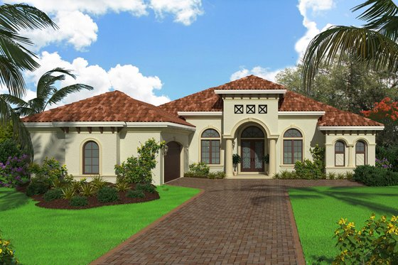 Mediterranean Exterior - Front Elevation Plan #27-550