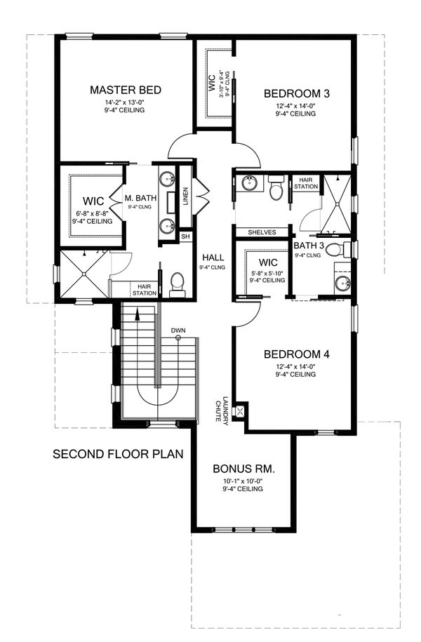 Mediterranean Floor Plan - Upper Floor Plan Plan #1058-172