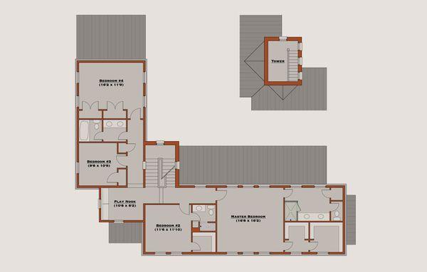 Farmhouse Floor Plan - Upper Floor Plan Plan #531-2
