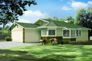 Cottage Style House Plan - 2 Beds 2 Baths 1150 Sq/Ft Plan #1-1056 Exterior - Front Elevation