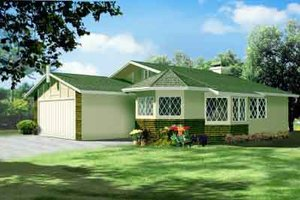 Cottage Exterior - Front Elevation Plan #1-1056
