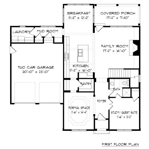 Farmhouse Floor Plan - Main Floor Plan Plan #413-878