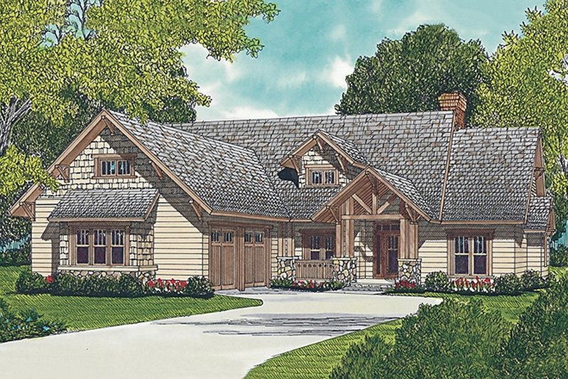 Craftsman Style House Plan - 3 Beds 3.5 Baths 2093 Sq/Ft Plan #453-5 Exterior - Front Elevation