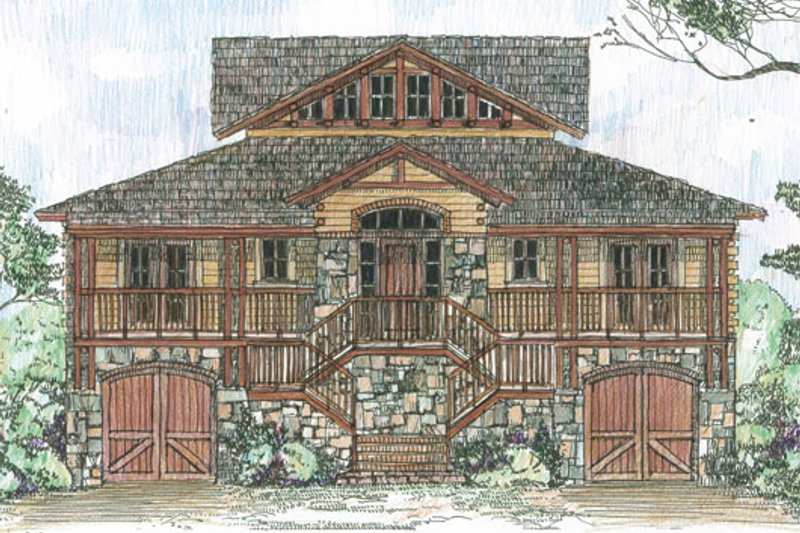 Country Style House Plan - 5 Beds 4 Baths 3086 Sq/Ft Plan #426-17 Exterior - Front Elevation