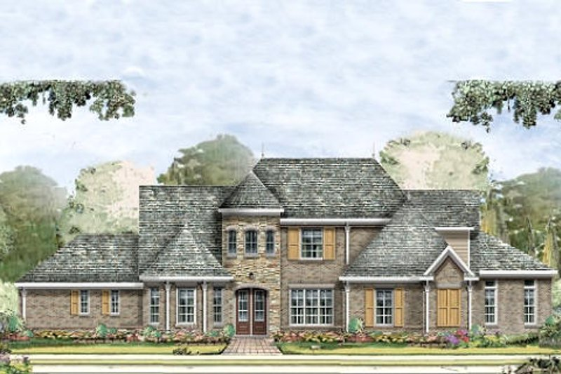 European Style House Plan - 4 Beds 4.5 Baths 3839 Sq/Ft Plan #424-229 Exterior - Front Elevation
