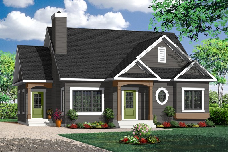 Country Style House Plan - 2 Beds 1 Baths 1359 Sq/Ft Plan #23-2201 Exterior - Front Elevation