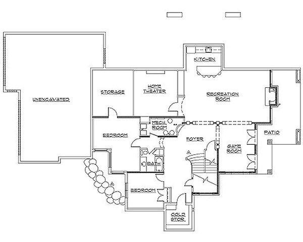Traditional Floor Plan - Lower Floor Plan Plan #5-226