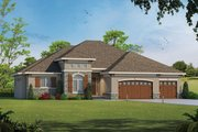 European Style House Plan - 3 Beds 2 Baths 2500 Sq/Ft Plan #20-2198 Exterior - Front Elevation