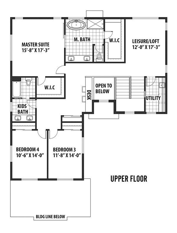 Contemporary Floor Plan - Upper Floor Plan #569-35
