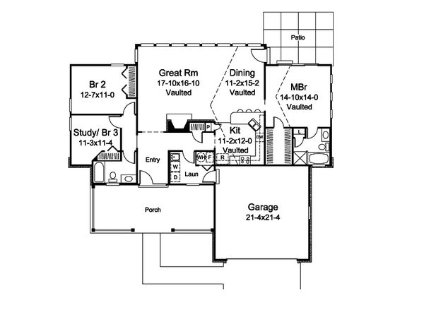House Plan Design - Country Floor Plan - Main Floor Plan #57-696