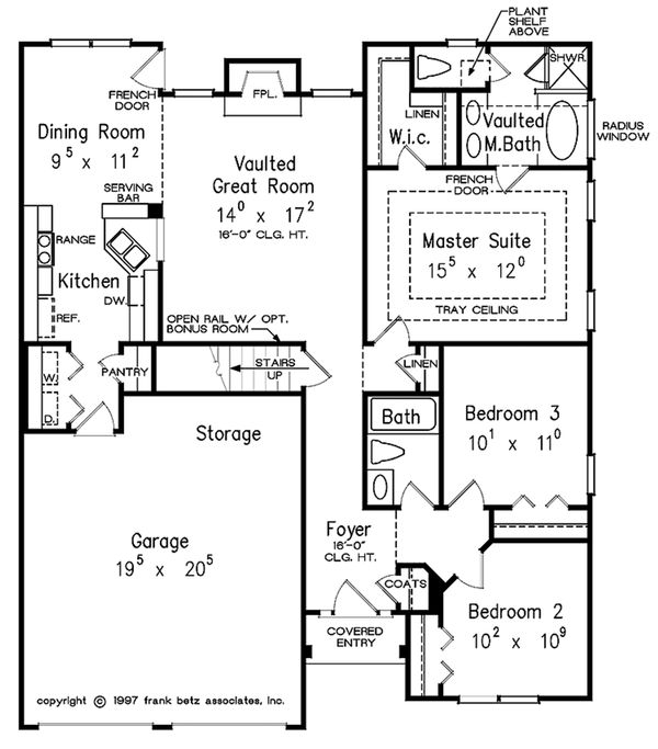 Traditional Style House Plan - 3 Beds 2 Baths 1347 Sq/Ft Plan #927-35 Floor Plan - Main Floor Plan