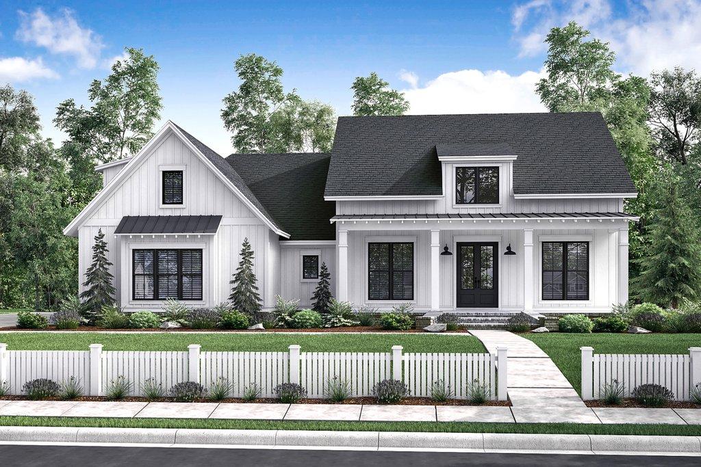 Front Elevation Farmhouse : Farmhouse style house plan beds baths sq ft