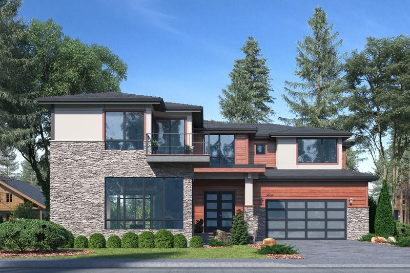 Contemporary Style House Plan - 5 Beds 4.5 Baths 3794 Sq/Ft Plan #1066-97 Exterior - Front Elevation