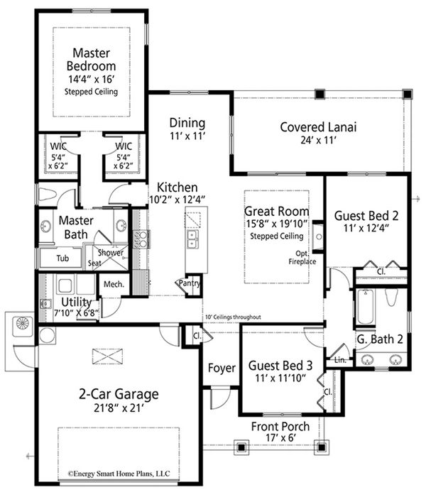 Craftsman Floor Plan - Main Floor Plan Plan #938-98