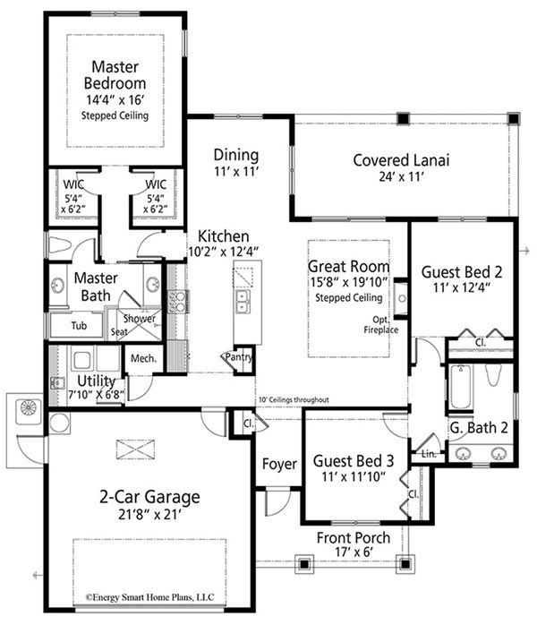 Craftsman Floor Plan - Main Floor Plan #938-98