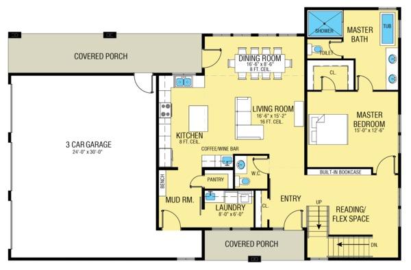 Dream House Plan - Farmhouse Floor Plan - Main Floor Plan #1068-1
