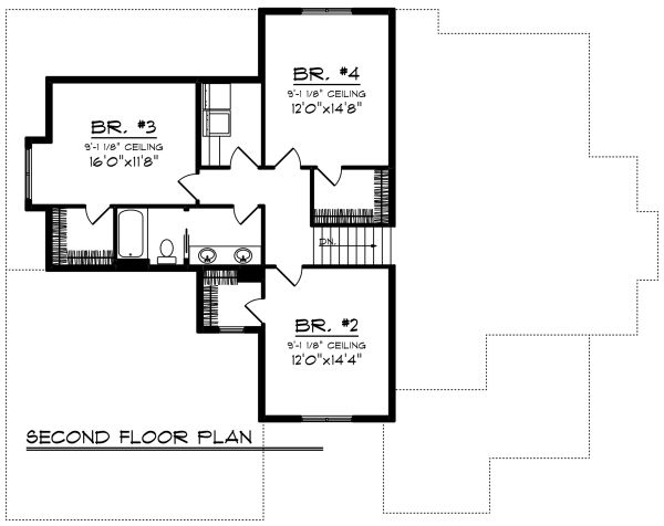 Craftsman Floor Plan - Upper Floor Plan Plan #70-1280