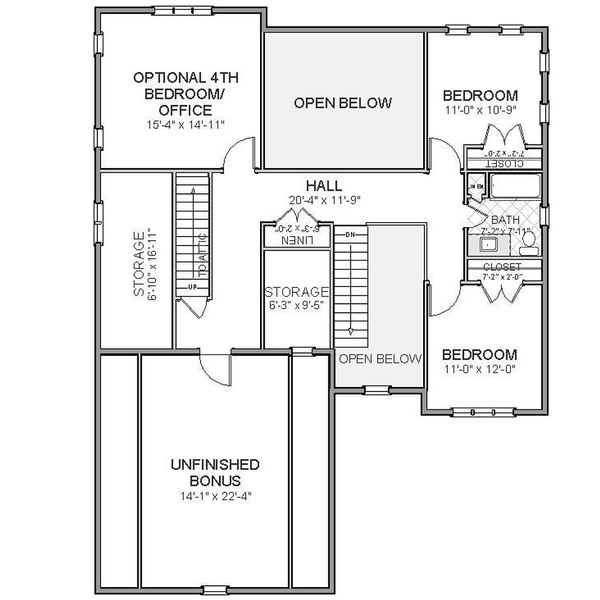 Traditional Floor Plan - Upper Floor Plan Plan #898-15