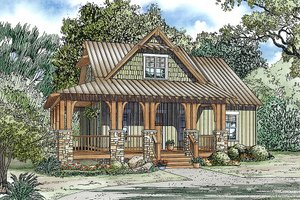 Dream House Plan - charming rustic cottage with front porch, 3 bedrooms and 2.5 bathrooms