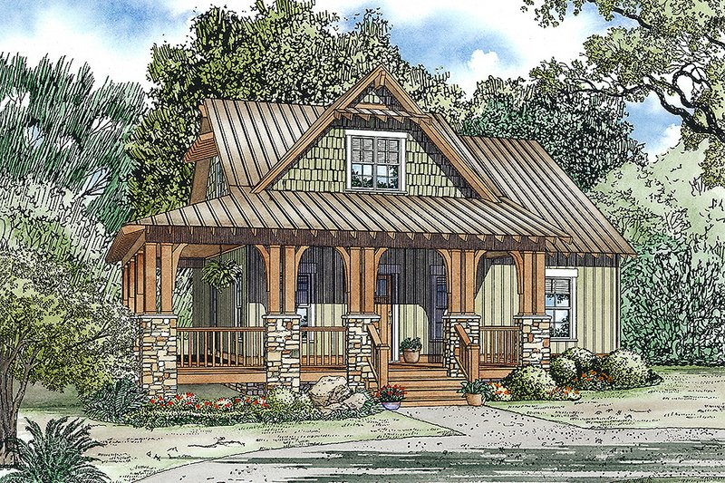 Architectural House Design - charming rustic cottage with front porch, 3 bedrooms and 2.5 bathrooms