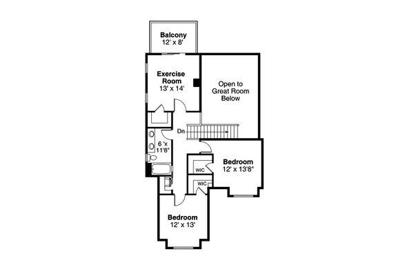 Traditional Floor Plan - Upper Floor Plan Plan #124-1190