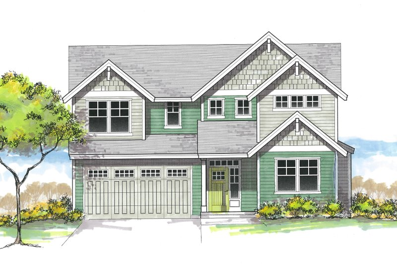Architectural House Design - Craftsman Exterior - Front Elevation Plan #53-606