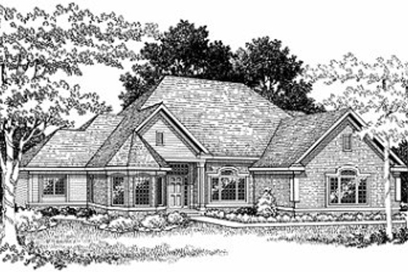 European Style House Plan - 3 Beds 2.5 Baths 2575 Sq/Ft Plan #70-412 Exterior - Front Elevation