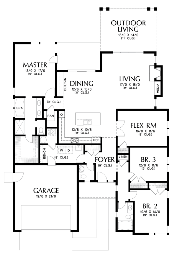 Contemporary Floor Plan - Main Floor Plan Plan #48-687