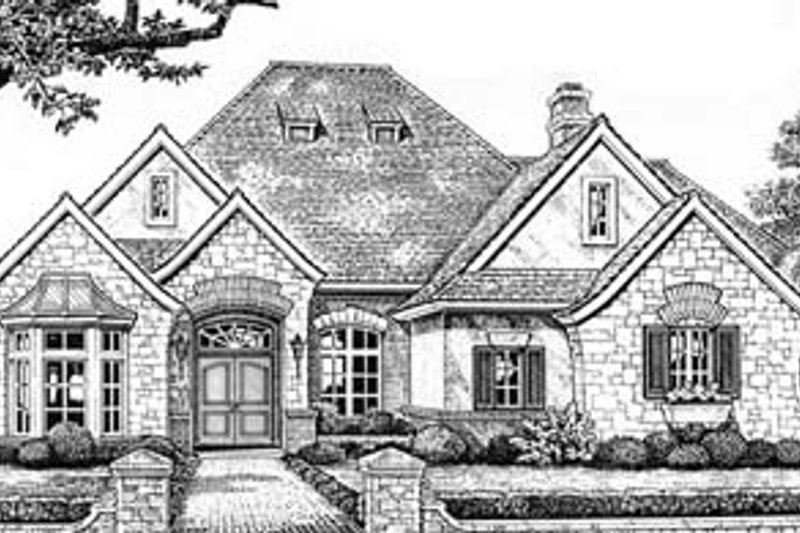 European Style House Plan - 4 Beds 3 Baths 2908 Sq/Ft Plan #310-551 Exterior - Front Elevation