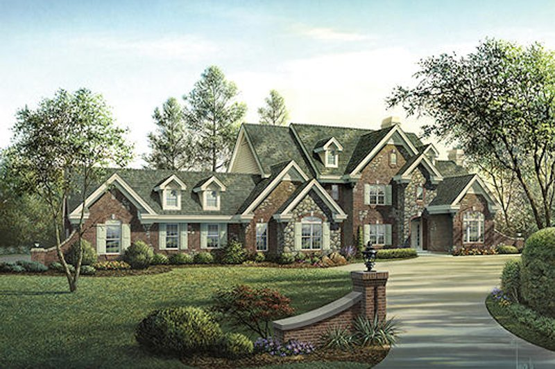 European Style House Plan - 4 Beds 5.5 Baths 5321 Sq/Ft Plan #57-354 Exterior - Front Elevation