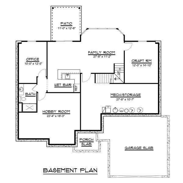 Ranch Floor Plan - Lower Floor Plan #1064-42