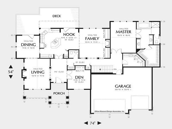 Craftsman Floor Plan - Main Floor Plan Plan #48-169