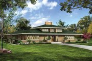 Prairie Style House Plan - 5 Beds 3.5 Baths 3278 Sq/Ft Plan #72-179 Exterior - Front Elevation