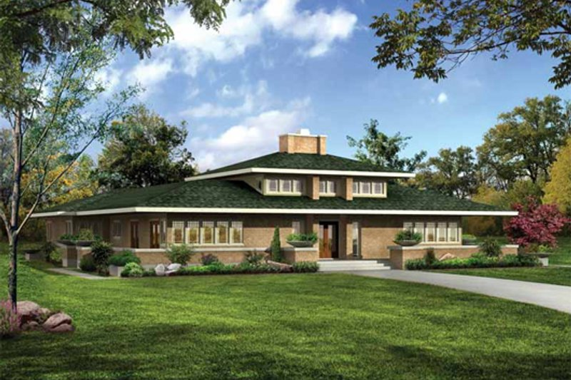 House Plan Design - Prairie Exterior - Front Elevation Plan #72-179