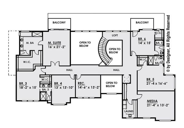 Contemporary Floor Plan - Upper Floor Plan Plan #1066-30