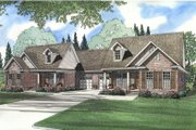 Southern Style House Plan - 3 Beds 2 Baths 2910 Sq/Ft Plan #17-1060 Exterior - Front Elevation