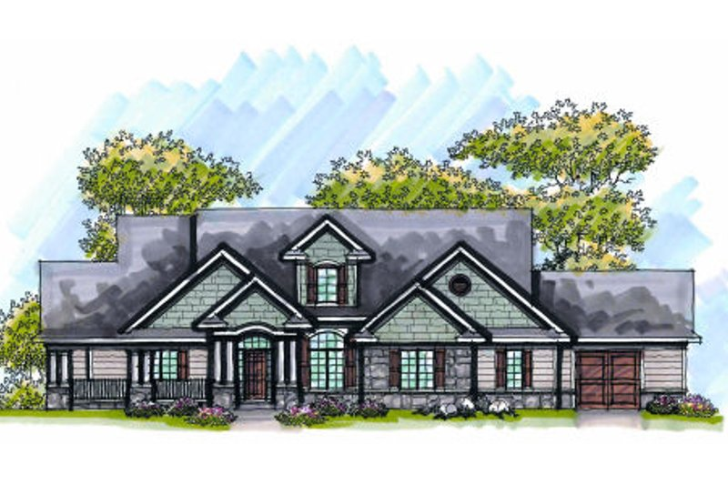 Dream House Plan - Bungalow Exterior - Front Elevation Plan #70-1006