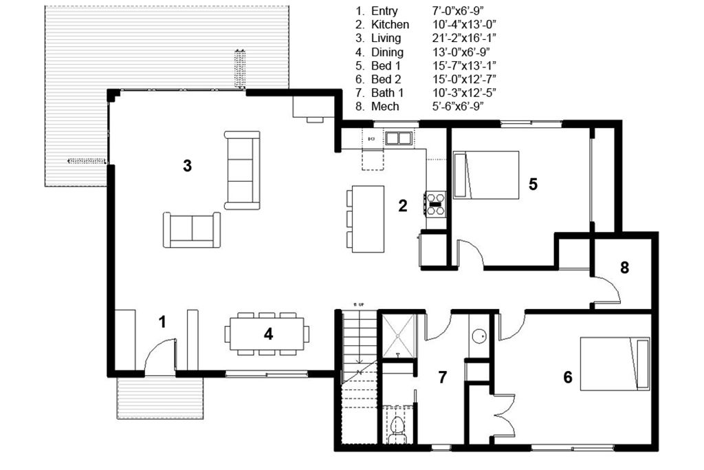 Modern Style House Plan 3 Beds 2 Baths 2115 Sq Ft 497
