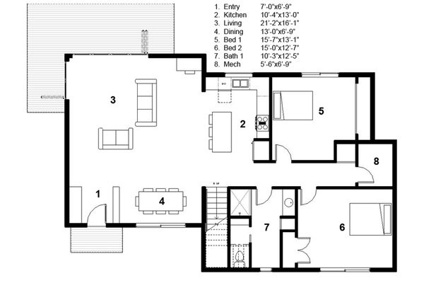 Architectural House Design - Modern Floor Plan - Main Floor Plan #497-31