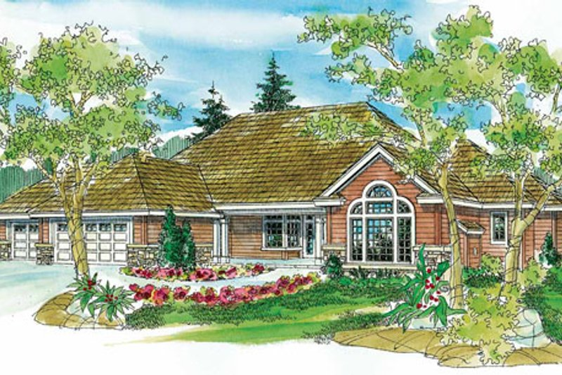 Ranch Exterior - Front Elevation Plan #124-744