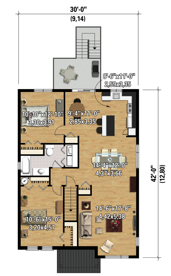 Contemporary Floor Plan - Upper Floor Plan #25-4356