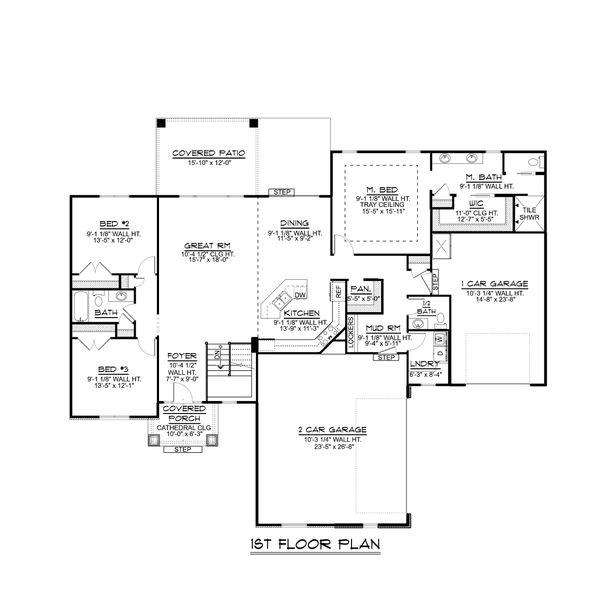 Craftsman Floor Plan - Main Floor Plan #1064-66